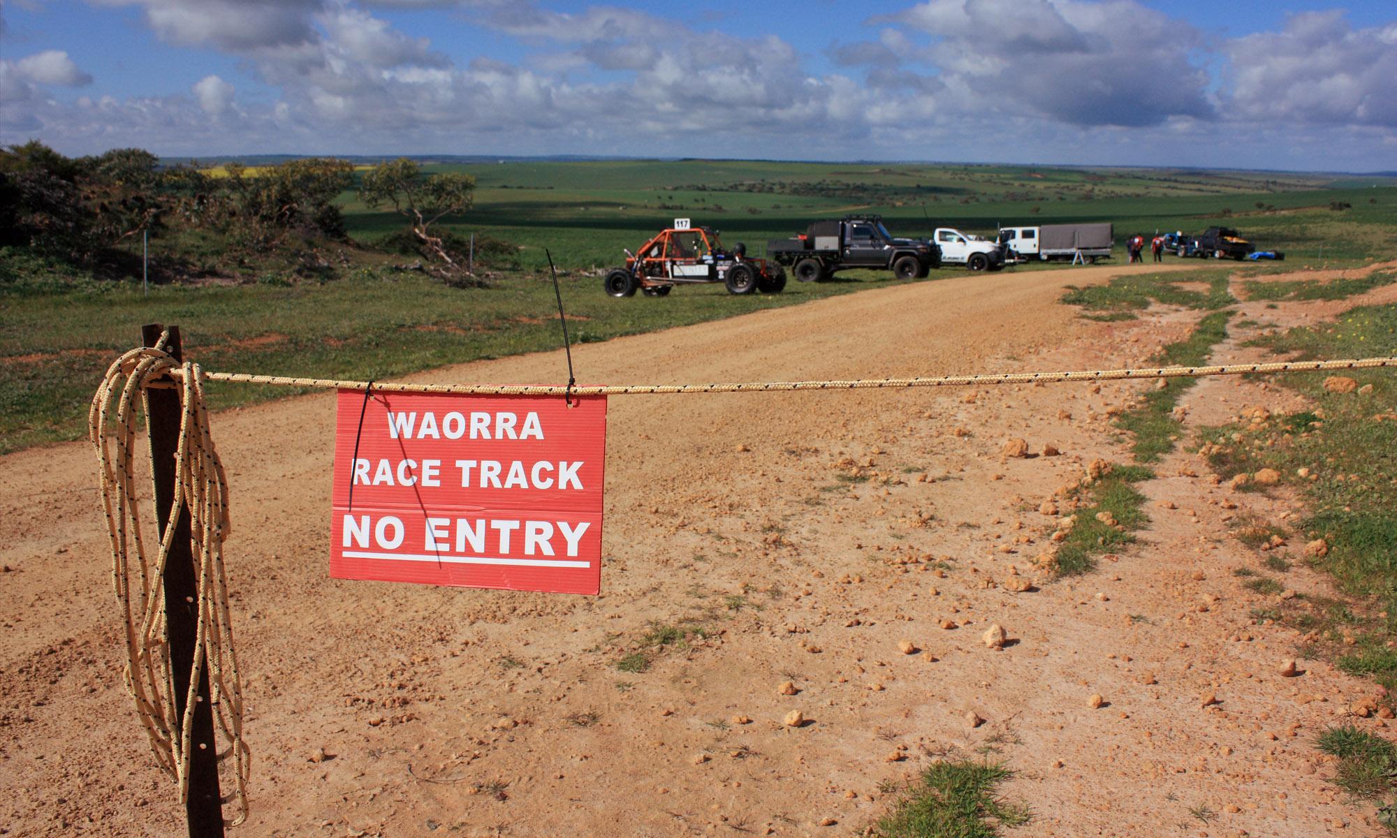 WAORRA Race Track - No Entry